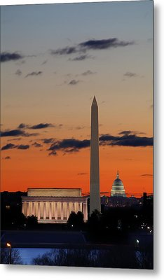 Digital Liquid -  Monuments At Sunrise Metal Print by Metro DC Photography