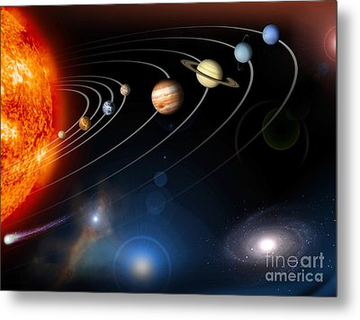 Digitally Generated Image Of Our Solar Metal Print
