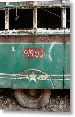 Dilapidated Vintage Green Bus In Burma - Side View With Tire Metal Print by Jason Rosette