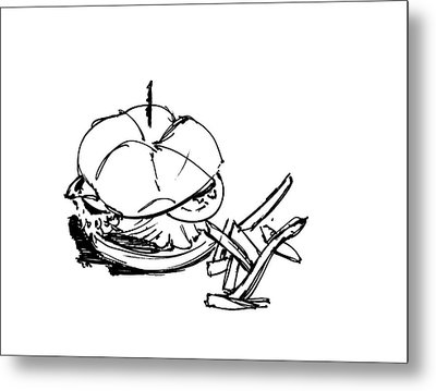 Diner Drawing Charbroiled Chicken 1 Metal Print by Chad Glass