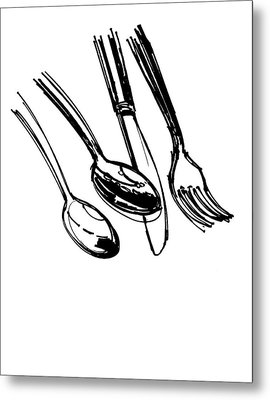 Diner Drawing Spoons, Knife, And Fork Metal Print by Chad Glass