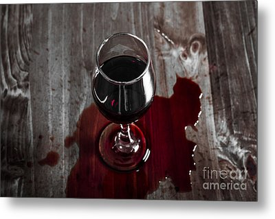 Diner Table Accident. Spilled Red Wine Glass Metal Print by Jorgo Photography - Wall Art Gallery