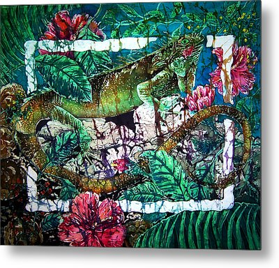 Dining At The Hibiscus Cafe - Iguana Metal Print by Sue Duda