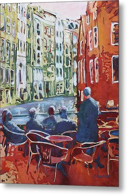 Dining Canalside Metal Print