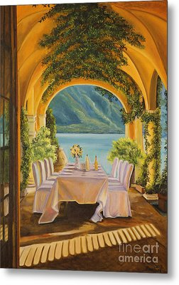 Dining On Lake Como Metal Print by Charlotte Blanchard