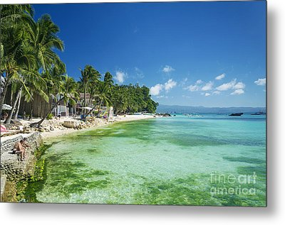 Diniwid Tropical Beach In Boracay Island Philippines Metal Print