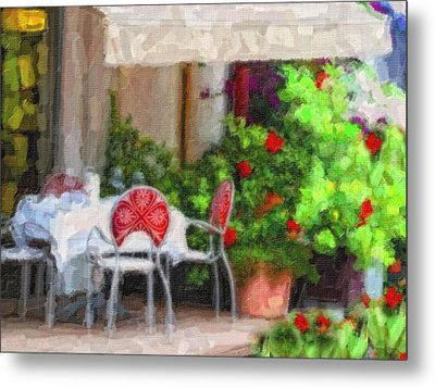 Dinner At The Cafe Metal Print by Gina Cormier