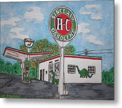 Dino Sinclair Gas Station Metal Print