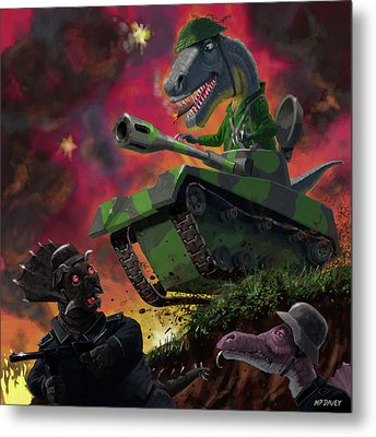 Metal Print featuring the painting Dinosaur War 01 by Martin Davey
