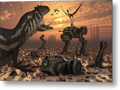 Dinosaurs And Robots Fight A War Metal Print by Mark Stevenson