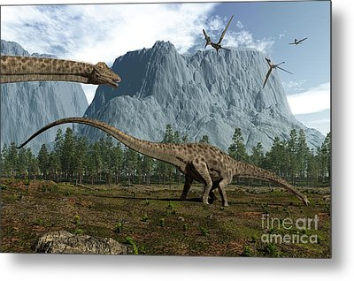Diplodocus Dinosaurs Graze While Metal Print by Walter Myers