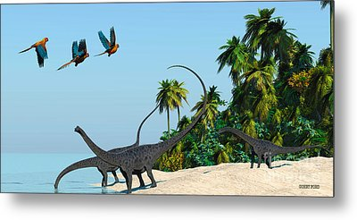 Diplodocus Drinking Metal Print by Corey Ford