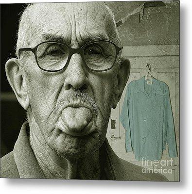 Metal Print featuring the photograph Dirty Blue Shirt by Jan Piller