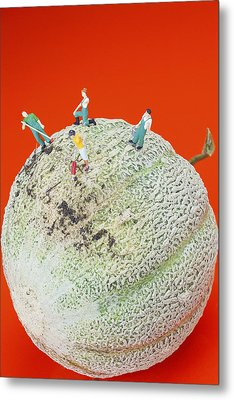 Metal Print featuring the painting Dirty Cleaning On Sweet Melon Little People On Food by Paul Ge