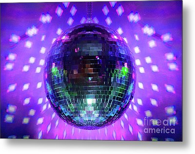 Disco Ball Purple Metal Print by Andee Design