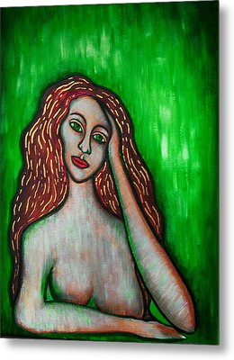 Discrete Contemplation-green Metal Print by Brenda Higginson