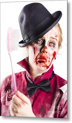 Diseased Woman With Big Toothbrush Metal Print by Jorgo Photography - Wall Art Gallery