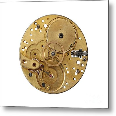 Metal Print featuring the photograph Dismantled Clockwork Mechanism by Michal Boubin