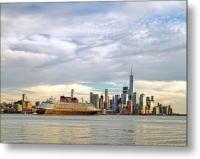 Disney Cruise Ship Passing Freedom Tower In New York City Metal Print by Geraldine Scull