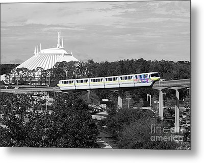 Metal Print featuring the photograph Disney World Monorail Color Splash Black And White Prints by Shawn O'Brien