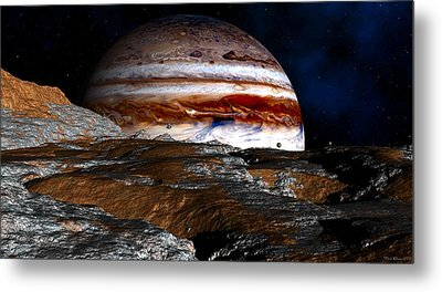 Metal Print featuring the digital art Distance Storm Clouds by David Robinson