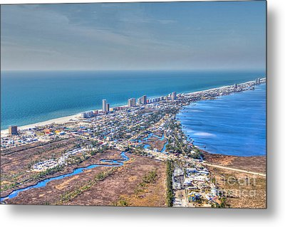 Distant Aerial View Of Gulf Shores Metal Print