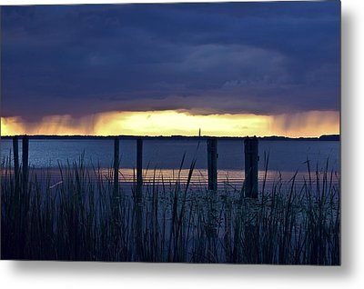 Distant Storms At Sunset Metal Print by DigiArt Diaries by Vicky B Fuller