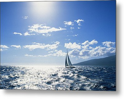 Distant View Of Sailboat Metal Print by Ron Dahlquist - Printscapes