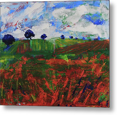 Metal Print featuring the painting Distant Vineyards by Walter Fahmy