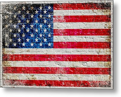Distressed American Flag On Old Brick Wall - Horizontal Metal Print by M L C