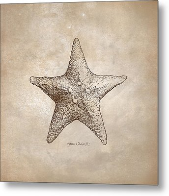 Distressed Antique Nautical Starfish Metal Print by Karen Whitworth