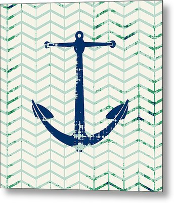 Distressed Navy Anchor V2 Metal Print by Brandi Fitzgerald