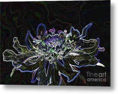 Ditigal Abstract Art Glowing Flower Metal Print