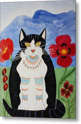 Diwali Tux Cat Metal Print