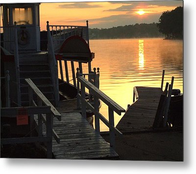 Dixie Boat Sunrise Metal Print