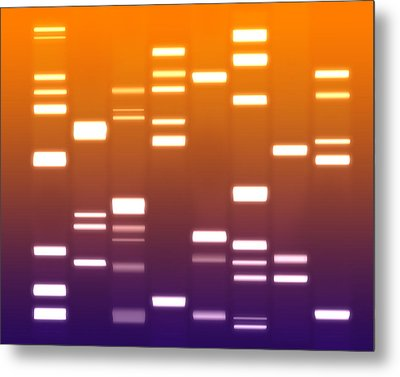 Dna Purple Orange Metal Print by Michael Tompsett