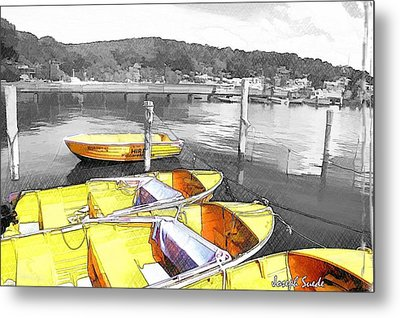 Do-00279 Yellow Boats Metal Print by Digital Oil