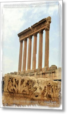 Metal Print featuring the photograph Do-00314 The 6 Corinthian Columns In Baalbeck by Digital Oil