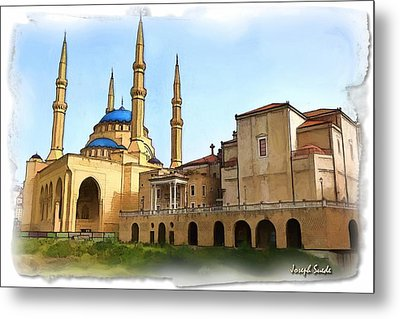 Metal Print featuring the photograph Do-00362al Amin Mosque And St George Maronite Cathedral by Digital Oil