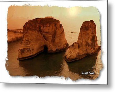 Metal Print featuring the photograph Do-00405 Raouche Sunset Beirut  by Digital Oil