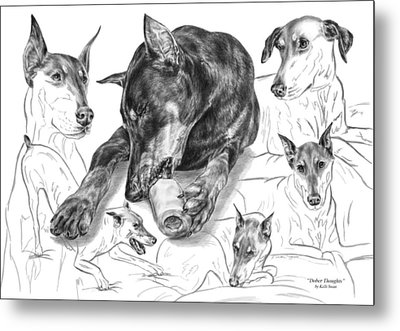Dober-thoughts - Doberman Pinscher Montage Metal Print