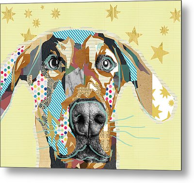 Doberman Collage Metal Print by Claudia Schoen