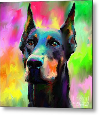 Doberman Pincher Dog Portrait Metal Print by Svetlana Novikova