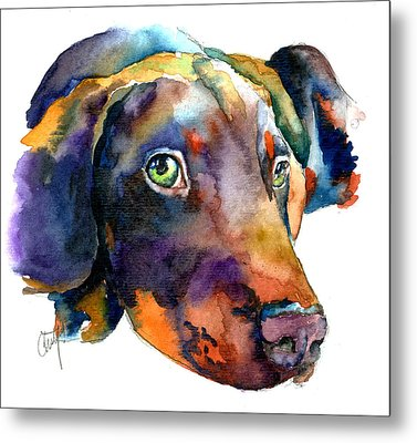 Doberman Watercolor Metal Print