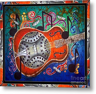 Dobro - Slide Guitar-bordered Metal Print by Sue Duda
