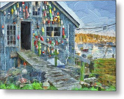 Dock House In Maine II Metal Print by Jon Glaser