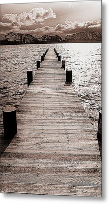 Dock Of Lake Tahoe With Views Of Mount Tallac Metal Print