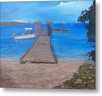 Dock On The Beach Metal Print by Tony Rodriguez