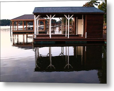 Dock Reflections Metal Print