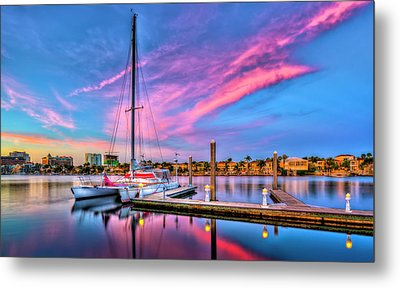 Docked At Twilight Metal Print by Marvin Spates